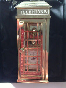 Details about Bulova British Phone Booth VERY RARE Miniature-Mini  Collectible Clock #B0016 NEW
