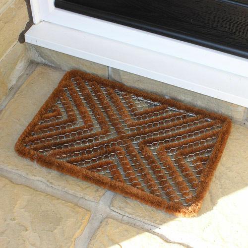 35 x 59 cm Brown Boston Brosse Coco acier grattoir porte d/'entrée Tapis
