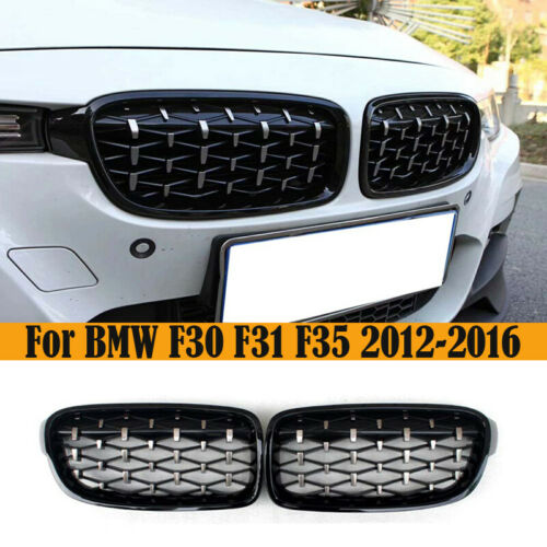 For BMW F30 F31 3-Series Front Kidney Grill Grille Chrome Black Diamond 12-17