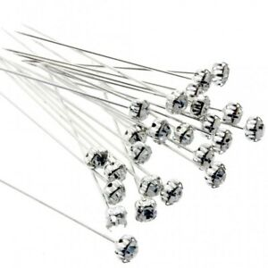 50 or 100 RED Diamante Crystal Pins 1.5 inch 4cm Buttonholes Weddings 25