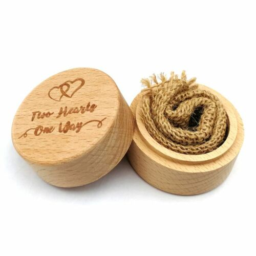 Engraving Wooden Wedding Ring Box Rustic Custom Ring Bearer Box Durable