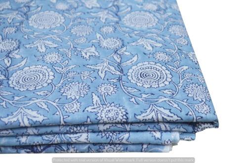 Craft Running 100/% Cotton Voile Fabric blue Multi Sewing HandBlock Print 3 yard
