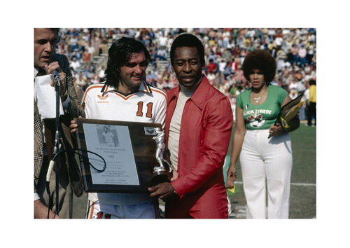 Recieving an Award in the USA Poster Irish Football Player George Best and Pele
