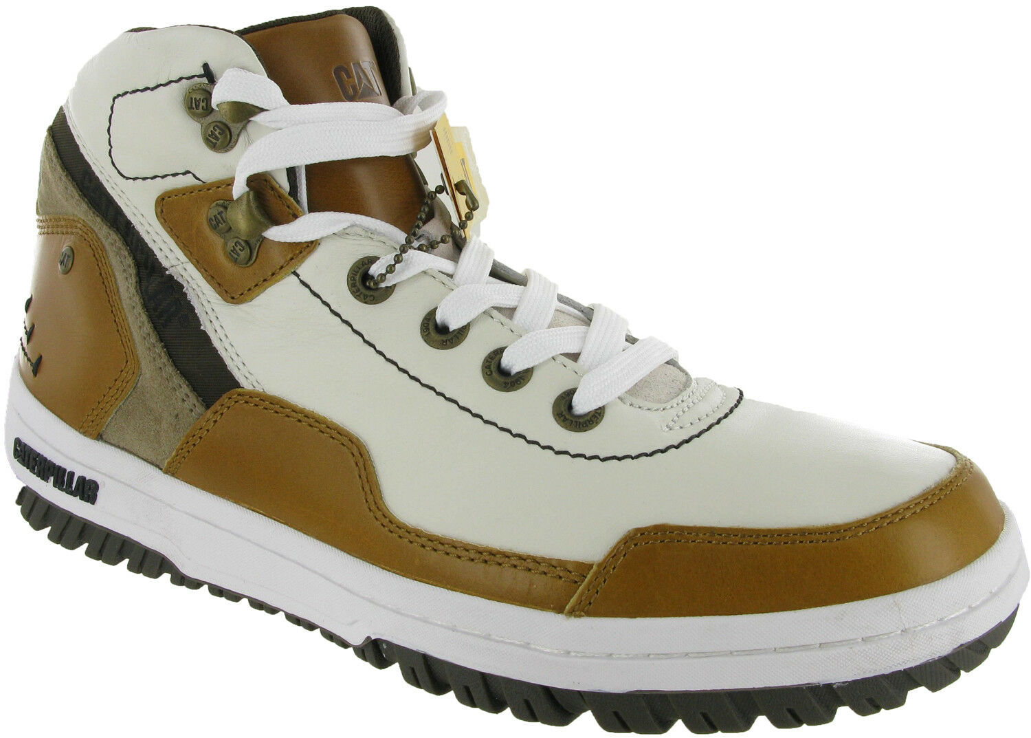CAT Caterpillar Motivate Hi Lace Up Mens White Casual Hi-Top Boots Trainers