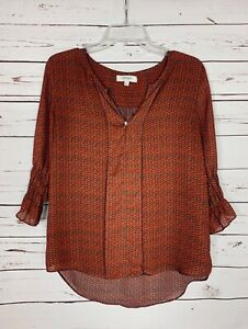 Umgee-Boutique-Women-039-s-M-Medium-Orange-3-4-Sleeves-Cute-Fall-Top-Shirt-Blouse