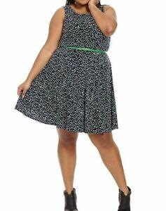 Jessica-Howard-Polka-Dot-Matte-Jersey-Fit-And-Flare-Dress-Size-20W-No-Belt