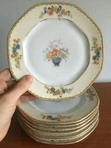 Set-of-8-MZ-Altrohlau-CMR-Czechoslovakia-034-Diana-034-7-034-Salad-Lunch-Plates-Art-Deco