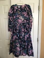 Vintage Laura Ashley Floral Corduroy Modest Long Maxi Prairie Dress Womens 6