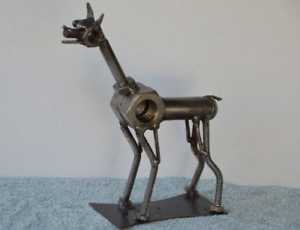 Hand-Made-DOBERMAN-PINCHER-4-Inches-Recycled-Scrap-Metal-Dog