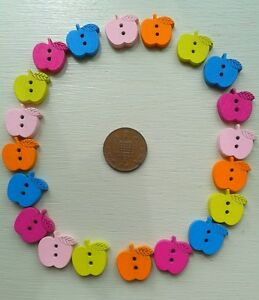20-X-WOODEN-APPLE-BUTTONS-CARD-CRAFT-EMBELLISHMENTS