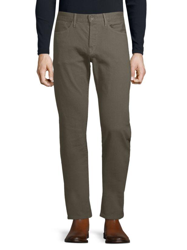 3x1 Nyc Herren Scout Braun Dunkles Olivgrün Gerades Bein Jeans Stretch 34 36 38