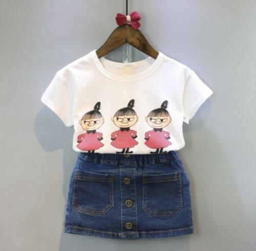 2PCS  Baby kids girls summer Clothing cotton T-shirt /& denim skirt  outfits cute