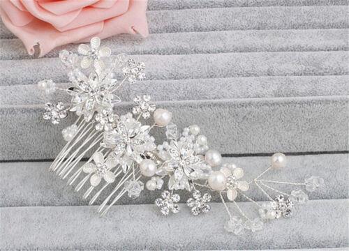Diamante Hair Comb Pearls Wedding Headdress Crystal Bridal Dress Accessories