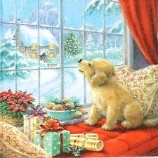 4x Carta Singola Tavola Festa Tovaglioli per Decoupage Decopatch cucciolo sulla finestra
