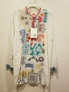 Johnny-Was-White-Tunic-with-Pockets-with-Multi-Colored-Embroidery-100-Cotton