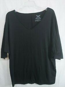 FADED-GLORY-Women-039-s-Plus-Black-Dolman-Short-Sleeve-V-Neck-Stretch-Top-size-1x