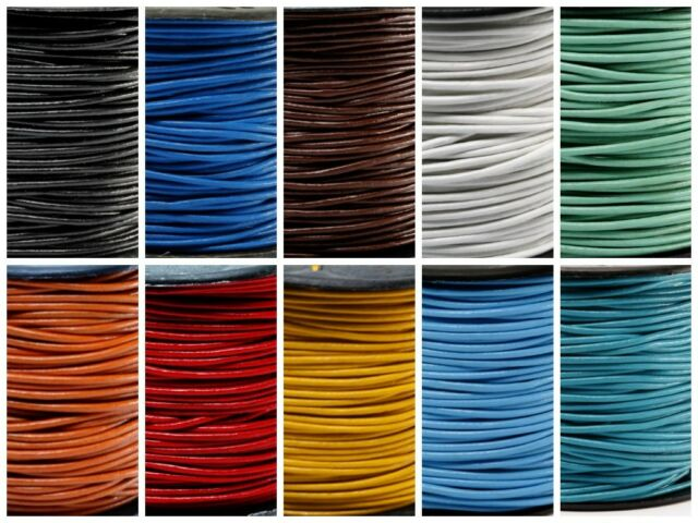"""Genuine Round Leather Cord 1.5 MM 1/16"""" DIY Craft Making Supplies - Choose Color"""