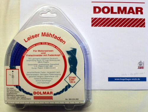 DOLMAR Leiser Mähfaden 2,0 mm blau 120m 369.224.062 NEU ORIGINAL