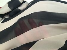 Striped Wide Black Chiffon Sheer Steampunk Cravat Scarf Dress Fabric Material