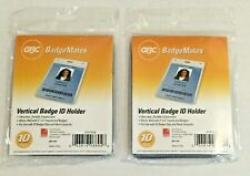 Lot Of 2 Gbc Badgemates 3747218 Id Badge Vertical Holders 4 X 3 Clear 20 Ct