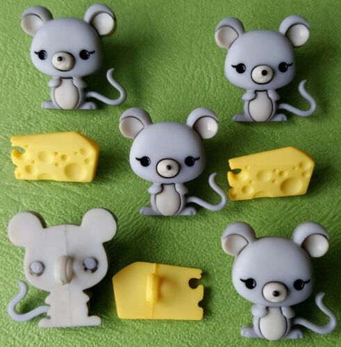 Ratones y el queso-bebé animal de ratón gris alimentos Vestido para arriba Novedad Craft Botones