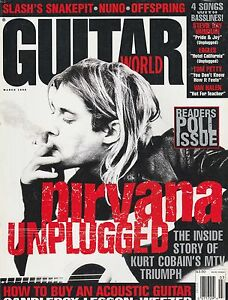 MARCH 1995 GUITAR WORLD vintage music magazine NIRVANA UNPLUGGED - COBAIN