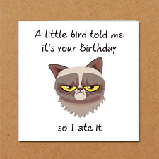 Grumpy Cat Birthday Card For Anyone Who Loves Cats