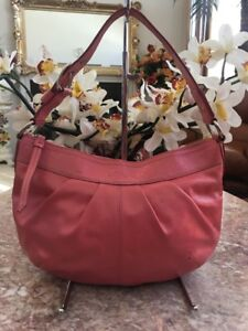 4277fe4723 Image is loading COACH-F13750-Patent-Pink-Leather-Pleated-Hobo-Shoulder-
