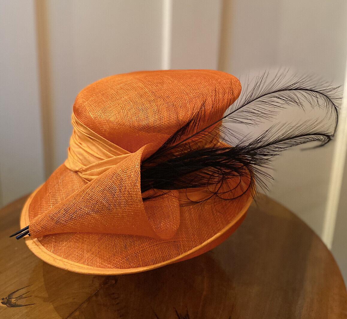 Peter Bettley London Women's Wedding/Formal Orange Hat Black Sweeping Feathers