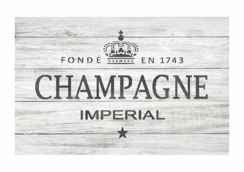 Champagne Francés Etiqueta Stencil-Muebles De Pared stencil Piso Para Pintar