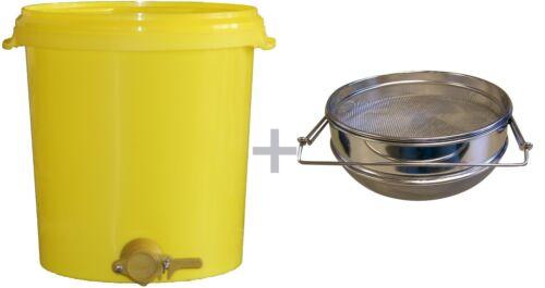 Abfülleimer 25 kg mit Quetschhahn mit Edelstahl Doppelsieb abfüllen verflüssigen
