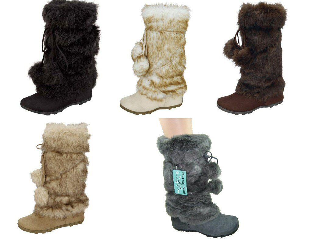 Blossom Tara-Hi femmes faux suede mid-calf faux fur pom pom mukluk winter bottes