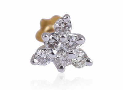 Pave 0.14 Cts Round Brilliant Cut Diamonds Nose Stud In Fine 18Karat Yellow Gold