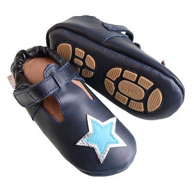 Liya/'s Hausschuhe Lederpuschen Turnschläppchen #696 Stern in dunkelblau