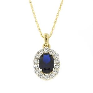 Beauniq-14k-Yellow-Gold-Simulated-Sapphire-amp-Cubic-Zirconia-Oval-Halo-Necklace