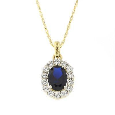 14k Yellow Gold Simulated Sapphire /& Cubic Zirconia Evil Eye Hamsa Necklace