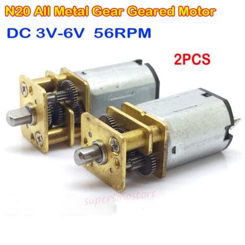 2PCS Micro N20 Full Metal Gearbox Gear Motor DC 3V-6V 56RPM Slow Speed Reducer