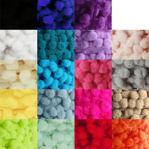 mini baby sized bobble fringe Small pom pom trim 8mm choose from 19 colours