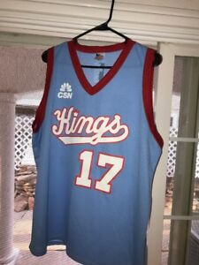best service c9705 19f32 Details about Sacramento Kings SGA baby Blue 80s Throwback Jersey XL  Authentic Fan Logo