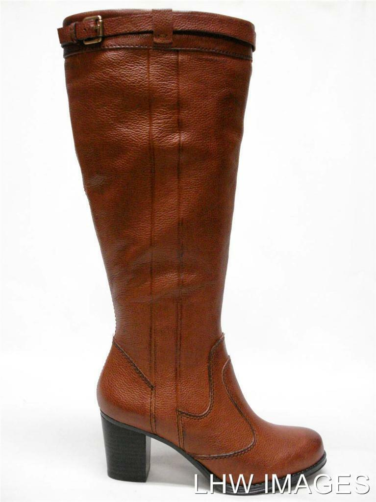 210 NIB NATURALIZER DAMARIS LEATHER WIDE SHAFT KNEE HIGH BOOTS 9.5 RUSTY TAN
