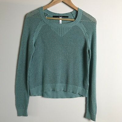 Gray Crochet Open Back New Long Sleeve Short Sweater Top