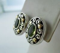 Bali Couture Ss/18k Gold Oval Peridot Clip Post Earrings
