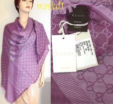 "GUCCI wool/silk Amethyst/Plum GG scarf Giant 55""-square PASHMINA shawl NWT Auth"