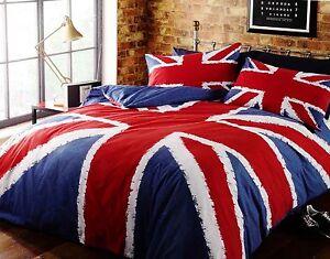 Union jack flag duvet quilt cover bedding set navy cotton for Pink union jack bedding
