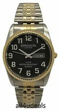 Mens Swanson Big Numbers Black Dial Gold Silver Stretch Elastic Band Watch