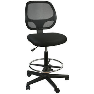 Details About Office Chair Mesh Task Chair Comfort Adjustable Tall Drafting Stool Swive W Foot