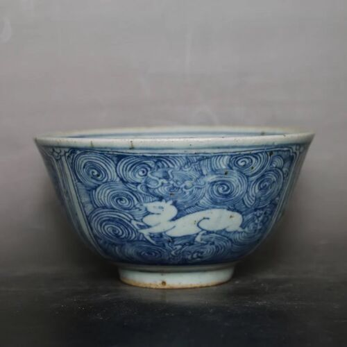 CHINESE OLD BLUE AND WHITE SEA WATER DEER GRAIN PATTERN PORCELAIN BOWL