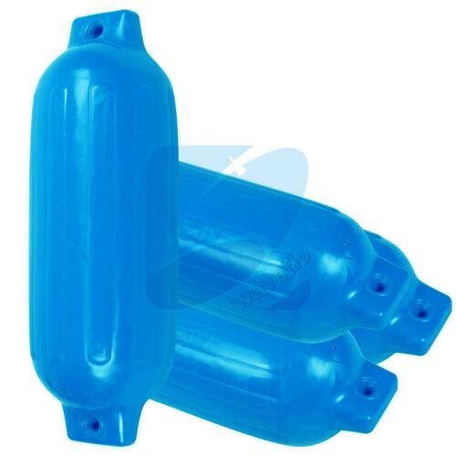 "4 Ribbed Boat Fender 8.5/"" X 27/"" Blue Vinyl Marine Bumper Inflatable Dock Shield"