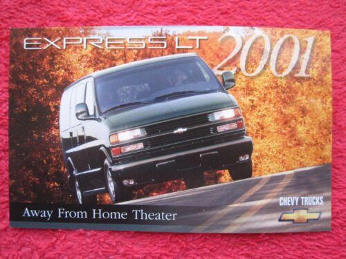 2001 CHEVY CHEVROLET EXPRESS LT VAN FACTORY FEATURES / INFO CARD