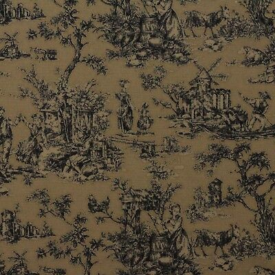 MILL CREEK VICTORIAN TOILE BEIGE BLACK COUNTRY TOILE COTTON FABRIC BY YARD  54